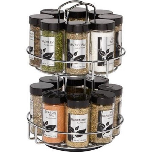 16-Jar Spice Rack, Easy Mount Countertop Ellington Lexington Counter 16jar Pack 4oz Space Years Valuable Tier... by