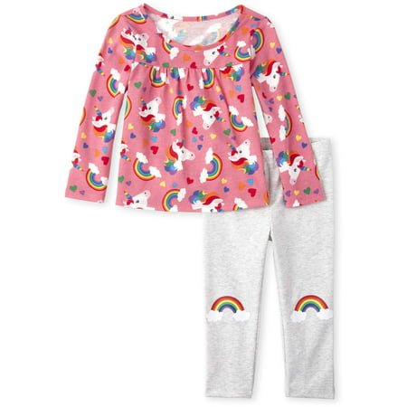 The Children's Place Rainbow Cloud Printed Top & Rainbow Pants, 2pc Outfit Set (Baby Girls & Toddler (Children's Outfits)