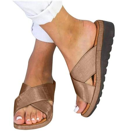 Mchoice girls sandals womens sandals Dressy Comfy Platform Casual Shoes Summer Beach Travel Slipper Flip Flops
