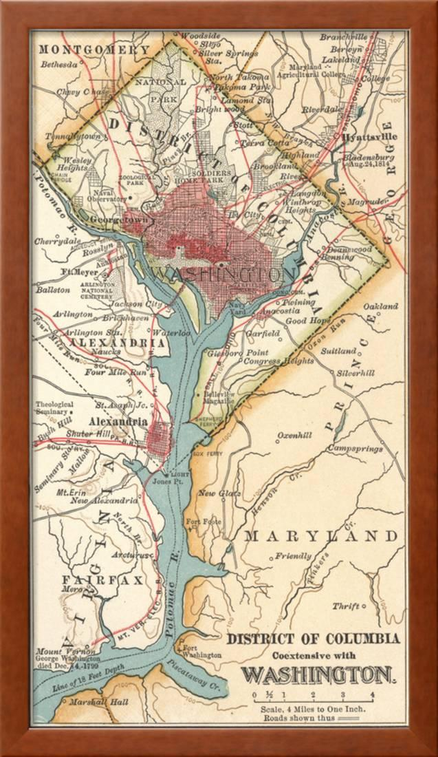 graphic regarding Printable Maps of Washington Dc identify Map of Washington D.C. (C. 1900), Maps Framed Print Wall Artwork By way of Encyclopaedia Britannica