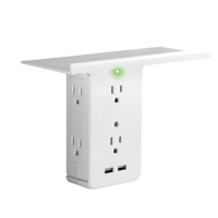 Socket Shelf 8 Port Surge Protector Wall Outlet by Sharper Image, As Seen On TV