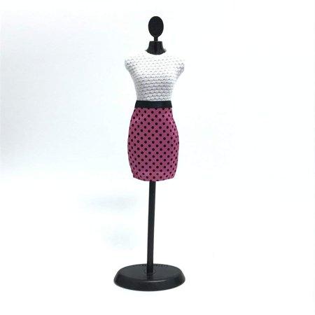 """12"""" Doll Dress - Fashion White & Pink Polka Dot Pattern Pencil Dress"""