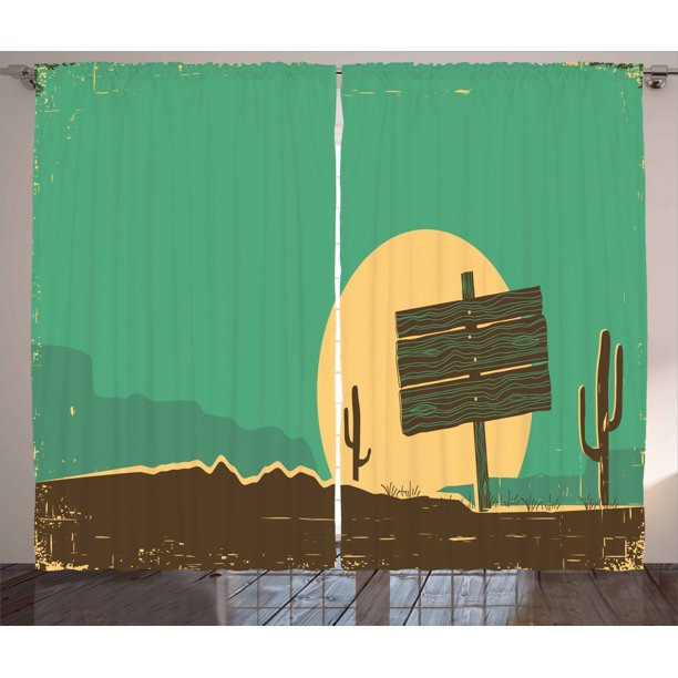 Western Curtains 2 Panels Set Western Desert Landscape With Cactuses Grungy Old Paper Texture Window Drapes For Living Room Bedroom 108w X 108l Inches Sea Green Beige And Umber By Ambesonne