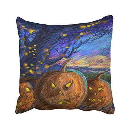 WinHome Happy Halloween Abstract Lines Night Scary Pumpkin Lights Decorative Pillowcases With Hidden Zipper Decor Cushion Covers Two Sides 18x18 inches - Scary Halloween Pumpkin Patterns