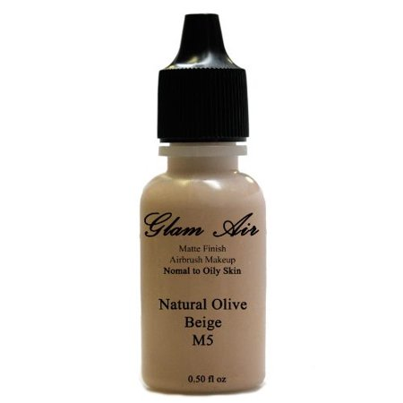 (Large Bottle Airbrush Makeup Foundation Matte Finish M5 Natural Olive Beige Water-based Makeup Lasting All Day 0.50 Oz Bottle By Glam Air)