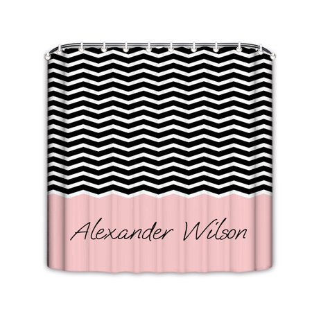Popeven Personalized Shower Curtain Black White Pink Chevron Pattern Fabric For