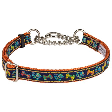 Country Brook Petz™ Plaid Bones and Paws Woven Ribbon on Orange Half Check Dog Collar Limited Edition Woven Ribbon Collar