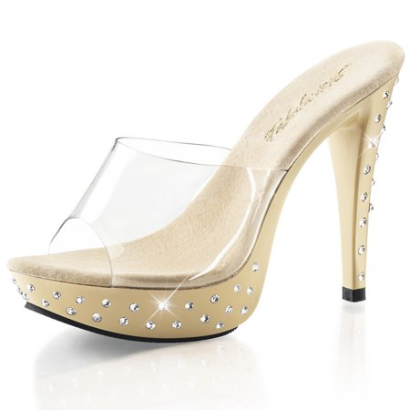 dad2a6fa436 SummitFashions - Elegant Slide Sandals with Rhinestone Encrusted Base and 5  Inch Cream High Heel - Walmart.com