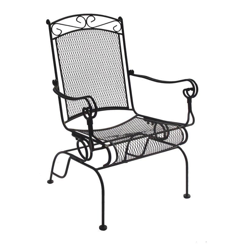 Charleston Wrought Iron High Back Spring Rocker Chair