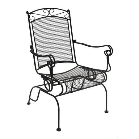 Charleston Wrought Iron High Back Spring Rocker Chair Set Of 2