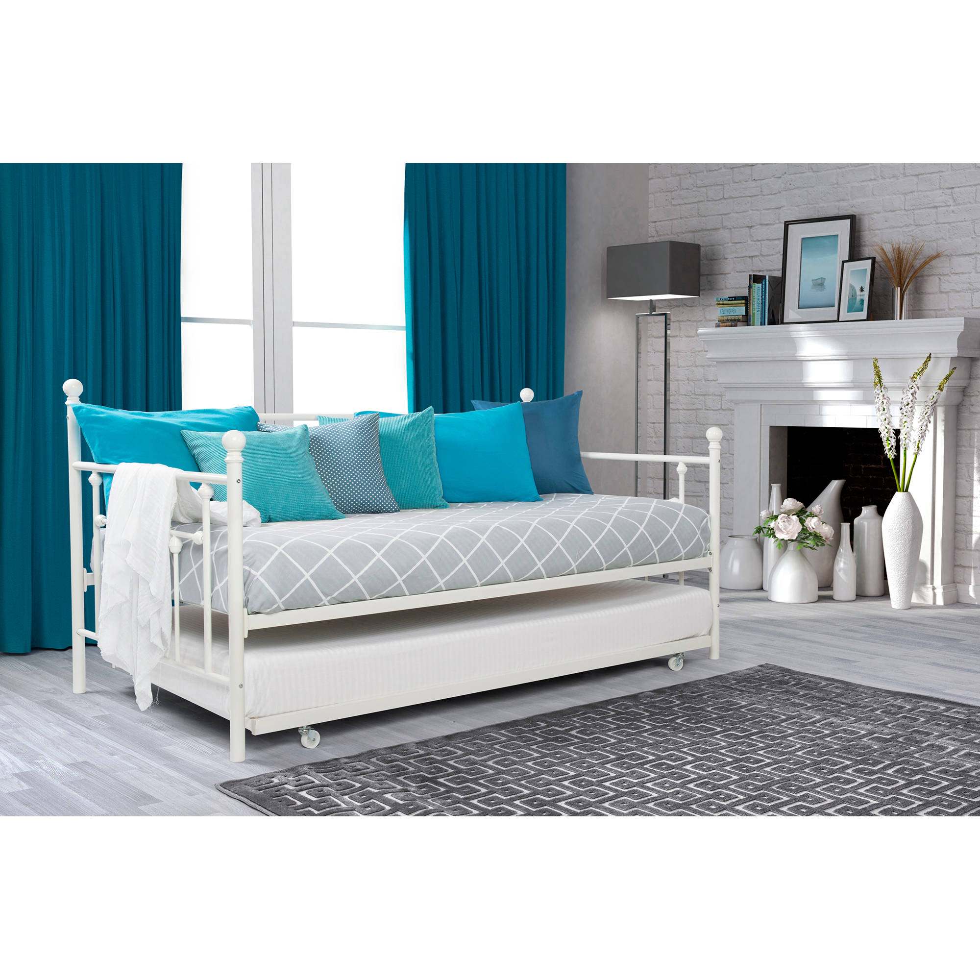 better homes and gardens kids panama beach twin bed with trundle white finish walmartcom