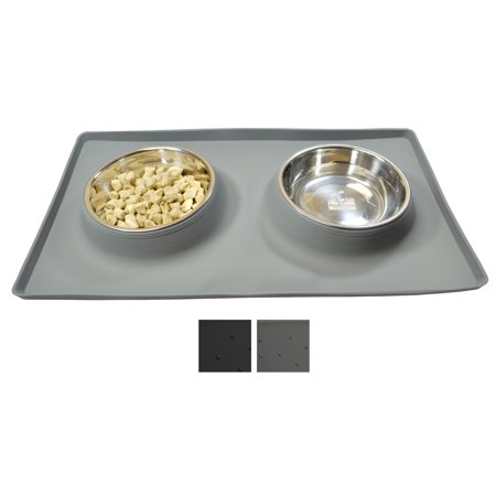 No Spill Dog Cat Food Water Bowl Includes Custom Silicone Feeding Station Mat And Two Bowls Grey Large