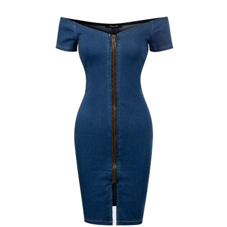Made by Olivia Women's Off Shoulder Strapless Slim Fit Denim Zipper Up Mini Bodycon Dress Denim L Classic Denim Dress Shirt