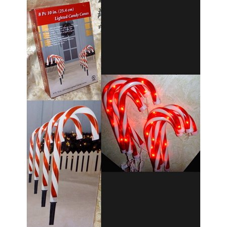 8 Pc Lighted Candy Canes 10 Quot Tall Pathway Markers String