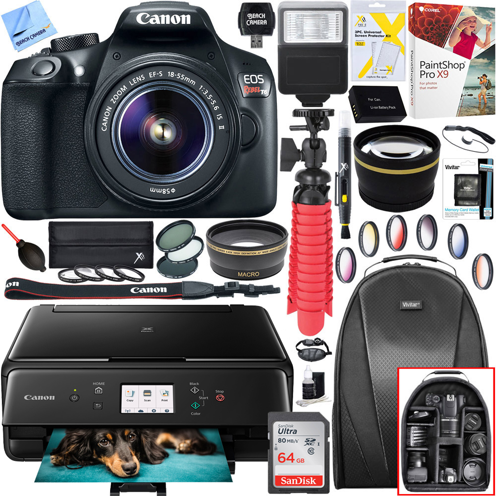 Canon T6 EOS Rebel Digital SLR Camera with EF-S 18-55mm IS II Lens and Canon PIXMA TS6120 Wireless All-in-One Compact Printer with Scanner & Copier (Black) 64GB Accessory Bundle