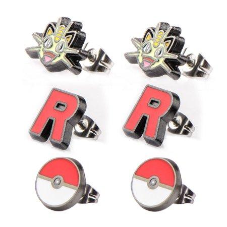 Pokemon Meowth Team Rocket Pokeball Stud Earrings