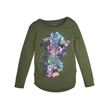 Girls' Shirred Graphic Long Sleeve Tee ()