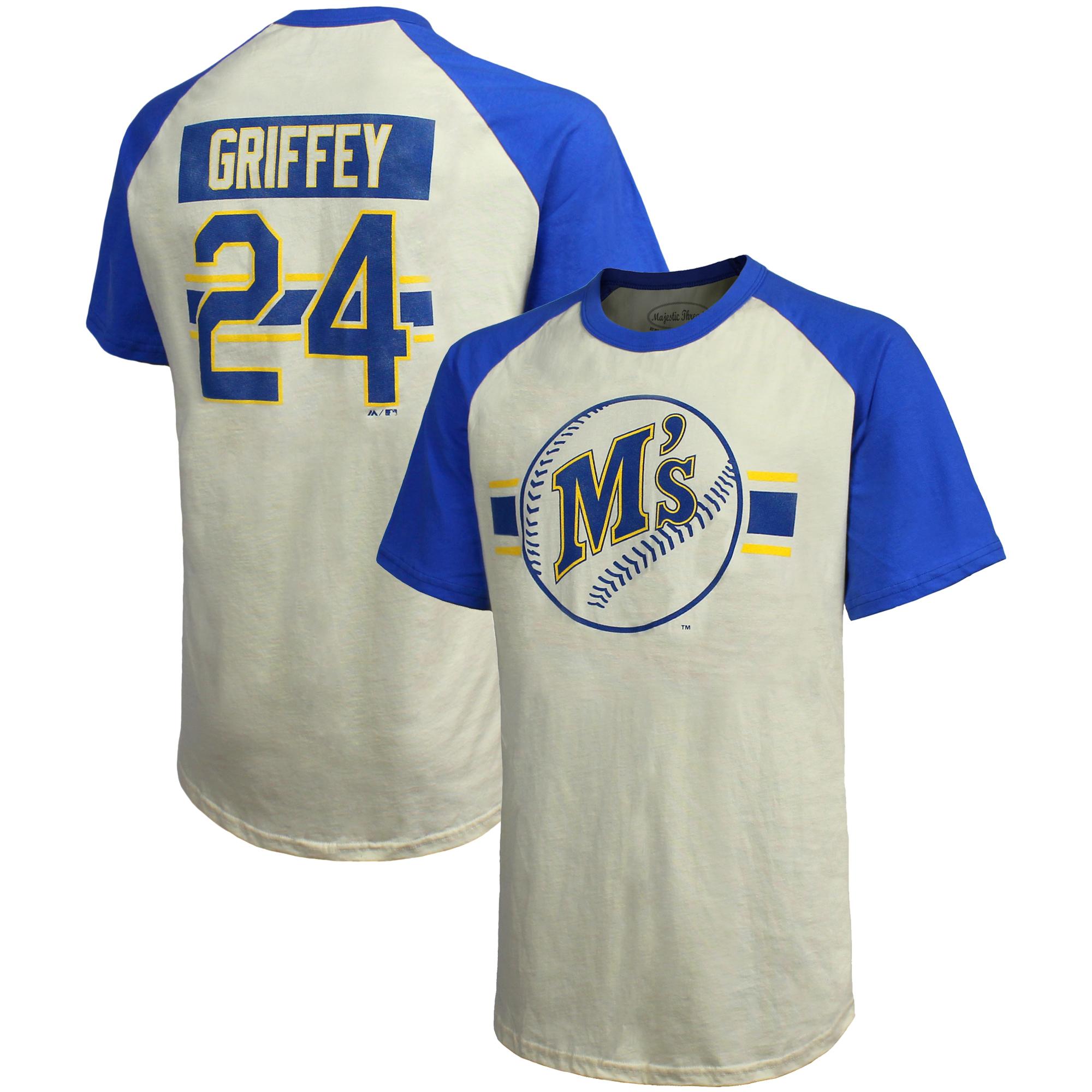 Ken Griffey Jr. Seattle Mariners Majestic Threads Cooperstown Collection Hard Hit Player Name & Number Raglan T-Shirt - Cream/Royal