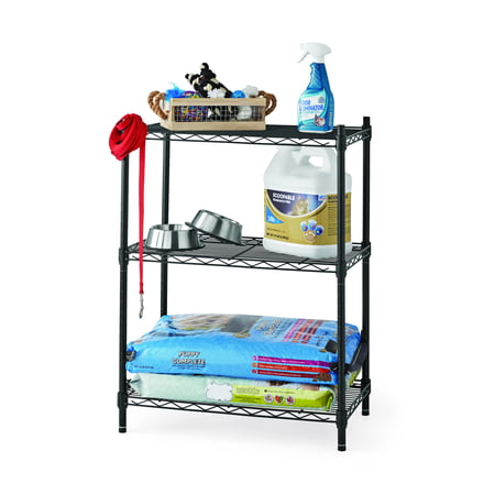Hyper Tough 13.4Dx23.2Wx30.6H in. 3 Tier Stackable Wire Shelving Black