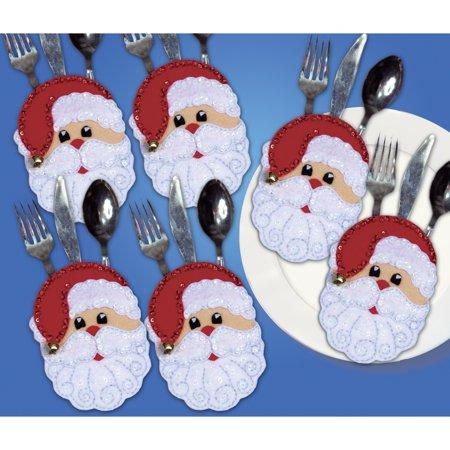 Design Works Felt Applique Kit, Santa Faces - Felt Santa