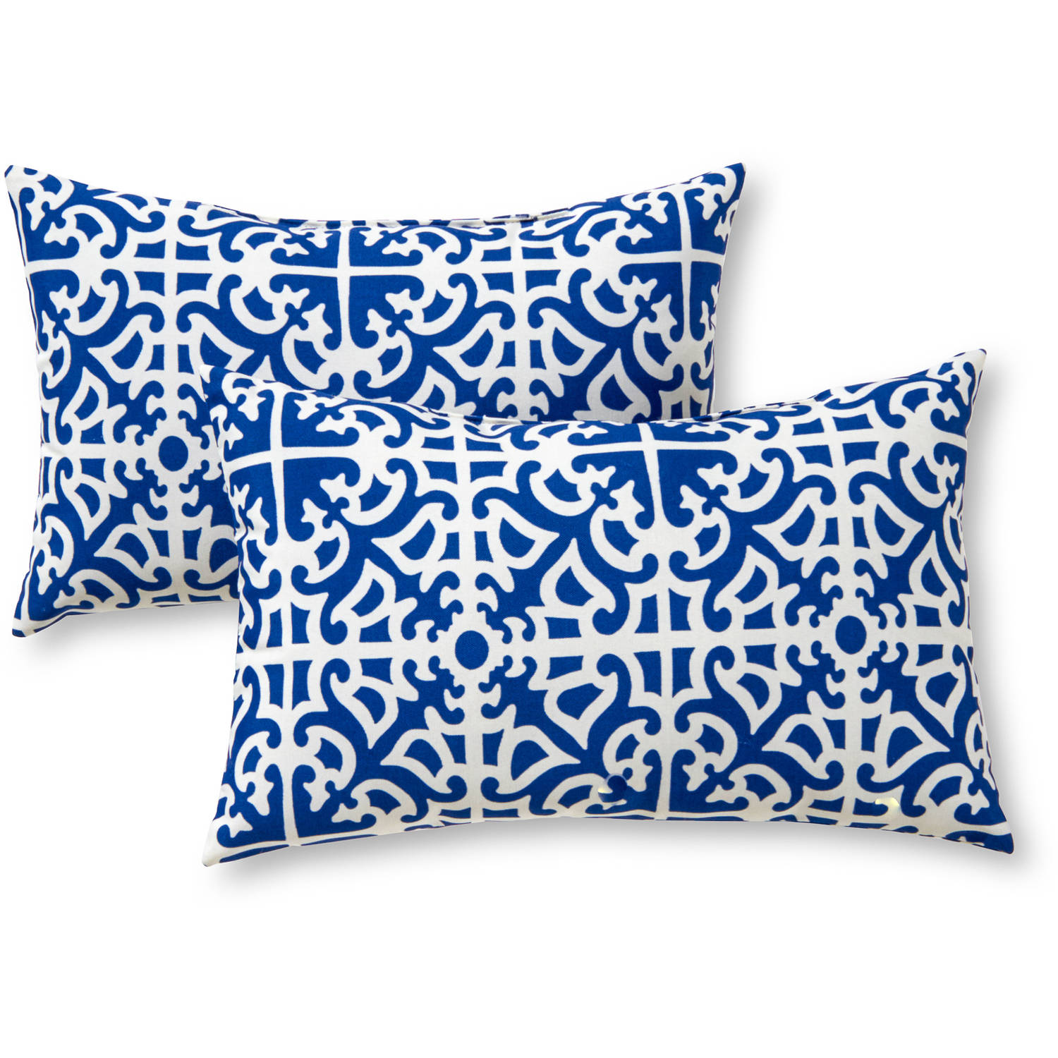 Greendale Home Fashions Rectangle Outdoor Accent Pillows, Set Of 2, Indigo