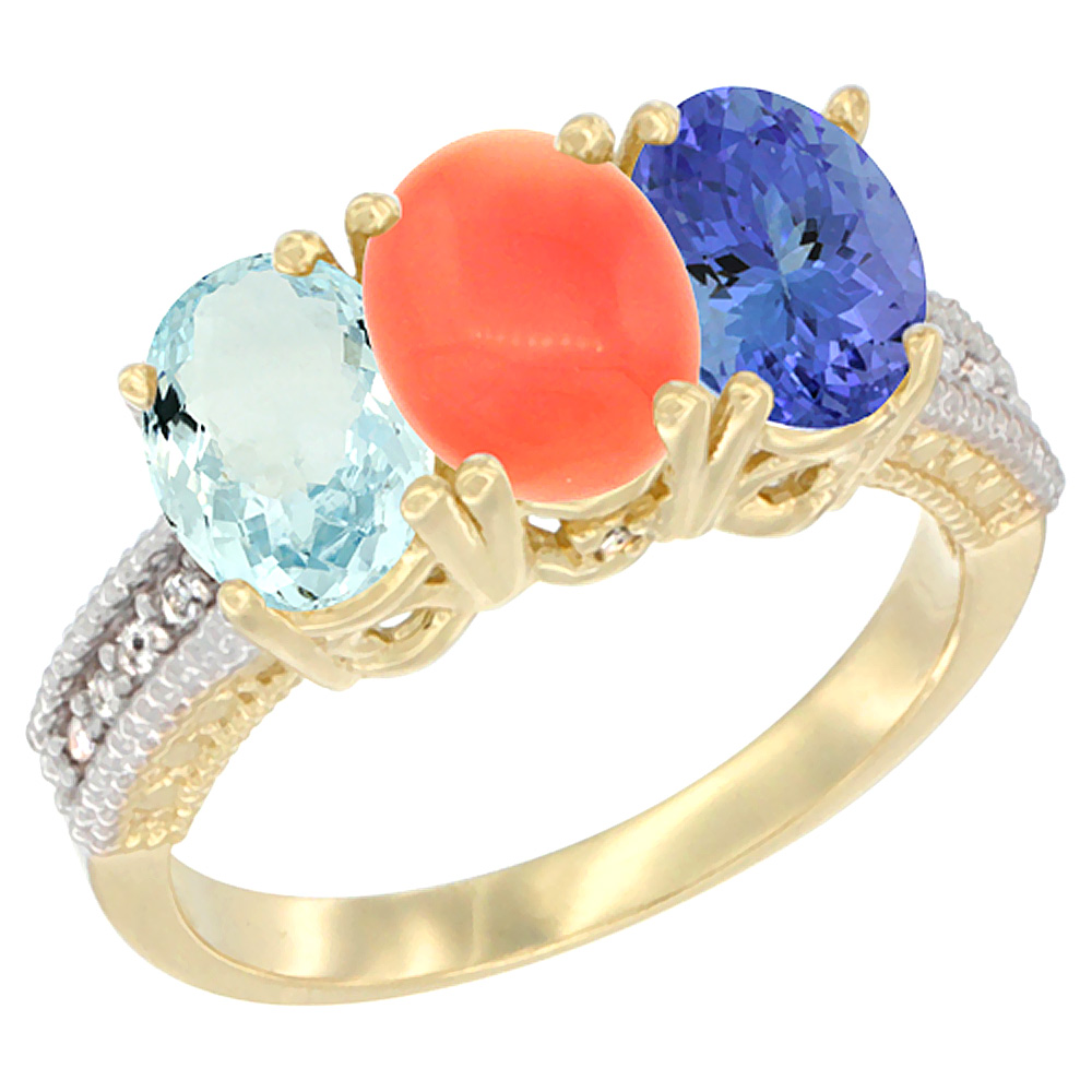 10K Yellow Gold Natural Aquamarine, Coral & Tanzanite Ring 3-Stone Oval 7x5 mm, sizes 5 10 by WorldJewels