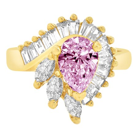 14k Gold Estate Ring - 14k Yellow Gold, Fancy Estate Style Cocktail Ring Created Color Pear CZ Synthetic Jun Birthstones Size 06.0