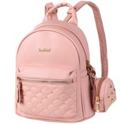 2 in 1 PU Leather Backpack, Vbiger Trendy Travel Backpack Chic Outdoor Daypack Casual School Backpacks for Women Rivets Decoration,Pink
