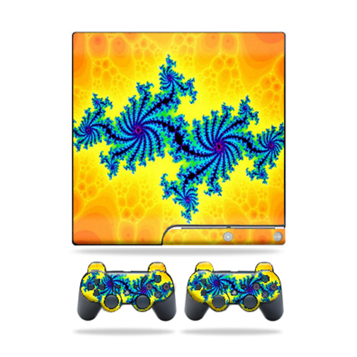 Skin Decal for Sony Playstation 3 PS3 Slim + 2 controllers sticker Fractal Works