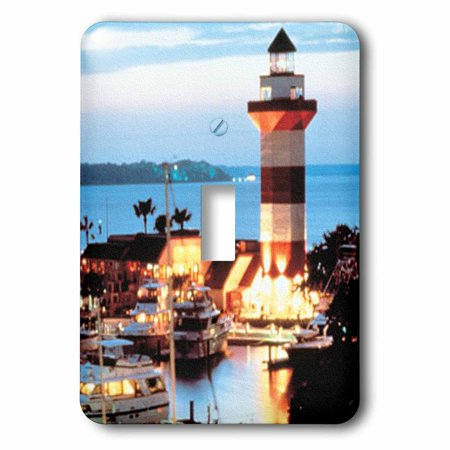 3dRose Harbour Town Lighthouse at Hilton Head Island at Dusk Double To