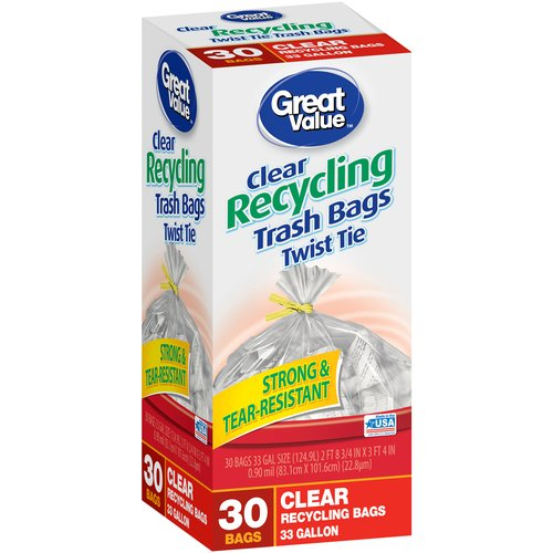 Great Value Twist Tie Clear Recycling Bags, 33 gallon, 30 count
