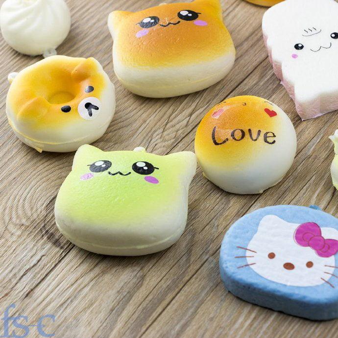 iMeshbean Random 30pcs Jumbo Medium Mini Soft Squishy Cake/Panda/Bread/Buns Phone Straps