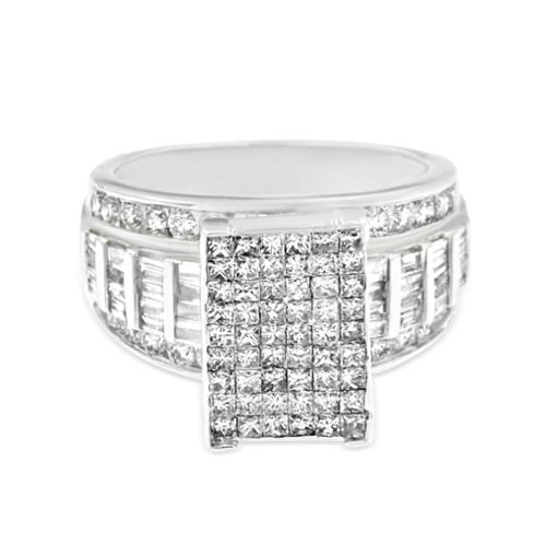 Vijay Gold 14k White Gold 2ct TDW Round, Baguette and Princess-cut Pave Diamond Ring