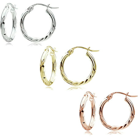 14kt Gold over Sterling Silver 15mm Tricolor Diamond-Cut Hoop Earring Set