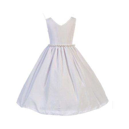 Little Girl White Wool Dobby Pearl Elegant Sleeveless Special Occasion Dress 2-6 (Special Occasion Dresses For Little Girls)