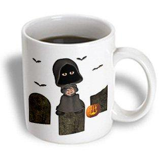 3dRose Toon Grim Reaper With Headstones And Bats, Ceramic Mug, 11-ounce