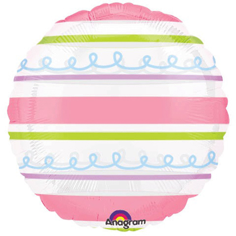 "Anagram Colorful Easter Pastel Stripes Round Transparent 18"" Foil Balloon"