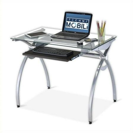 Scranton & Co Glass Top Metal Computer Desk