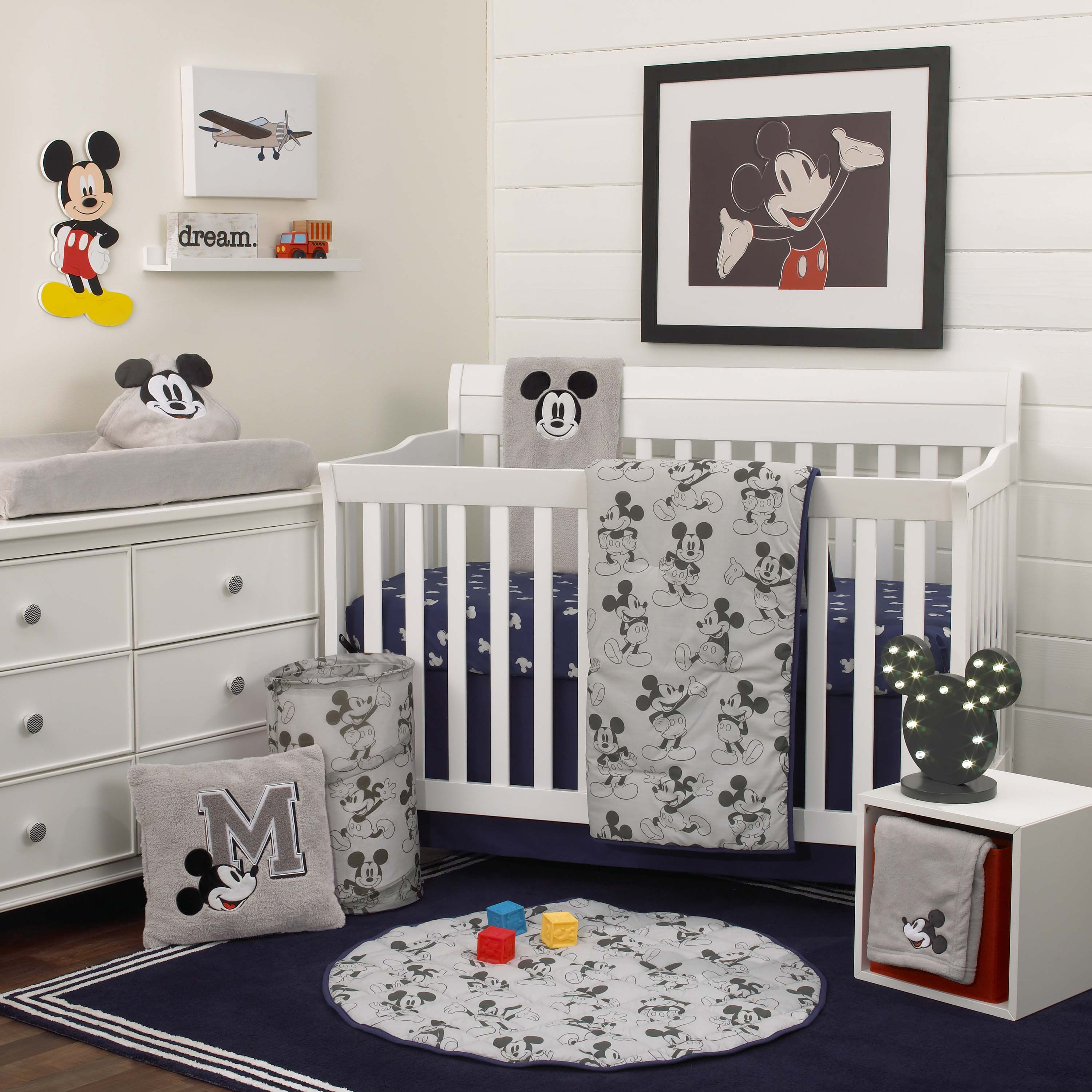 Disney Mickey Mouse 6 Piece Nursery Crib Bedding Set, Comforter, Two 100% Cotton Fitted Crib Sheets, Dust Ruffle, Baby Blanket, Changing Pad Cover, Grey, Navy & Dark Charcoal