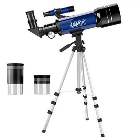 Emarth Telescope, Travel Scope, 70mm Astronomical Refracter Telescope with Tripod & Finder Scope, Portable Telescope for Kids Beginners (Blue) (Telescopes For Kids)