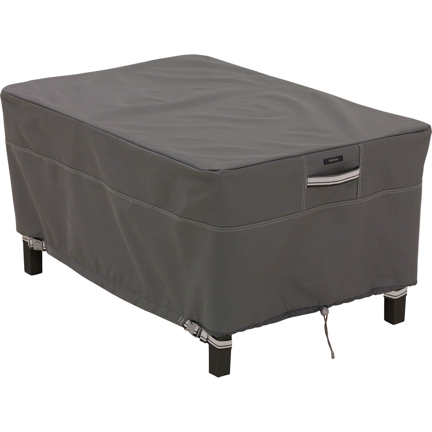 """Classic Accessories Ravenna Small/Rectangle Ottoman/Side Table Patio Furniture Storage Cover, Fits up to 32"""", Taupe"""