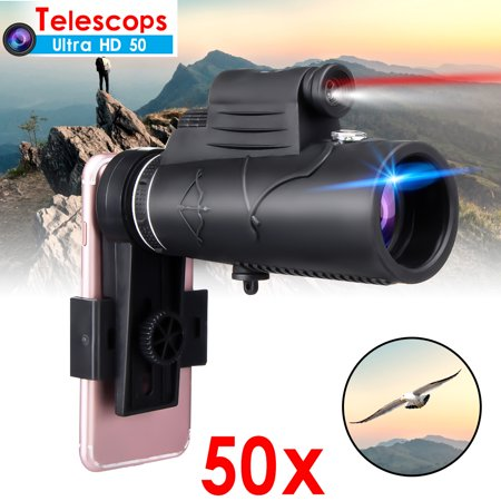 Telescope Casual Light (50X60 Zoom Monocular Telescope HD Lens + Laser Light Clip Hunting Phone Holder For iPhone Samsung)