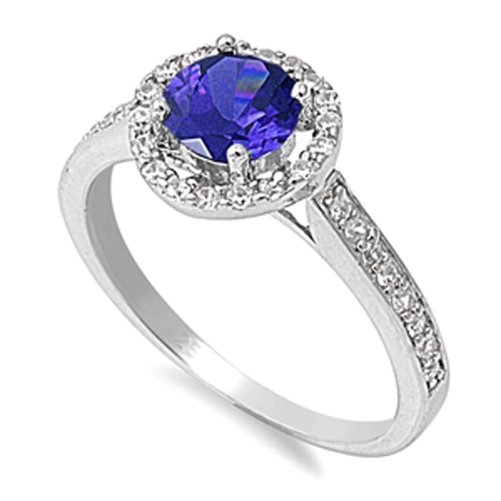 Blue Simulated Sapphire Halo Wedding Ring ( Sizes 5 6 7 8 9 10 ) New .925 Sterling Silver Band Rings by Sac Silver (Size 8)
