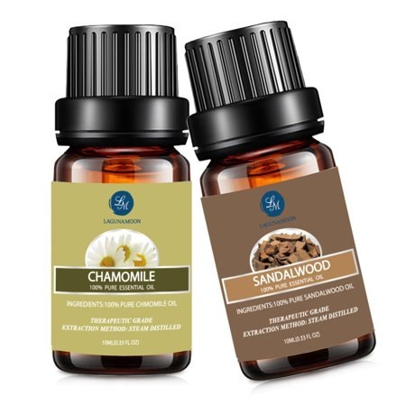 Essential Natural - Chamomile Sandalwood Essential Oil,10ML Natural Pure Aromatherapy Oils Therapeutic Grade, Value 2 Pack