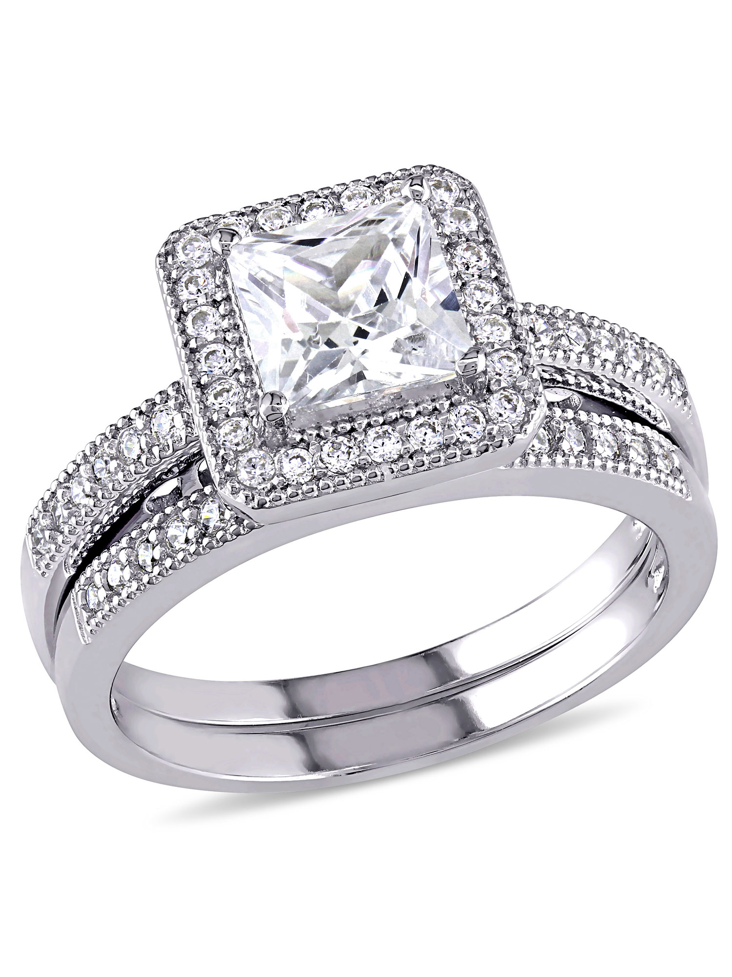 Miabella 2-1/3 Carat T.G.W. Princess and Round-Cut Cubic Zirconia Sterling Silver Halo Bridal Set