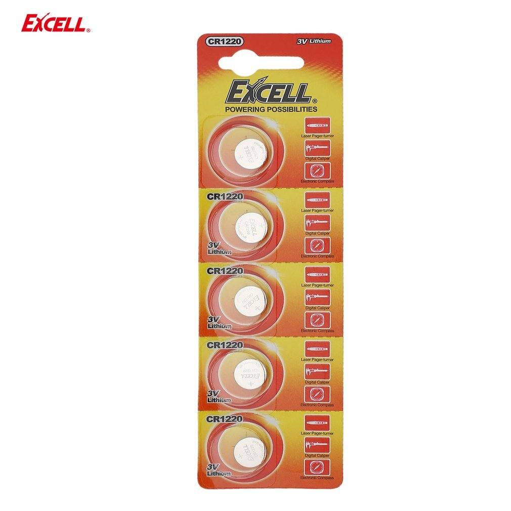 5pcs EXCELL 3V Lithium Button Cell CR1220 for Laser Paper-turner&Digital Caliper