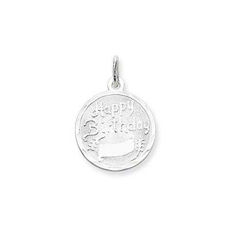 - .925 Sterling Silver Happy Birthday Disc Charm Pendant