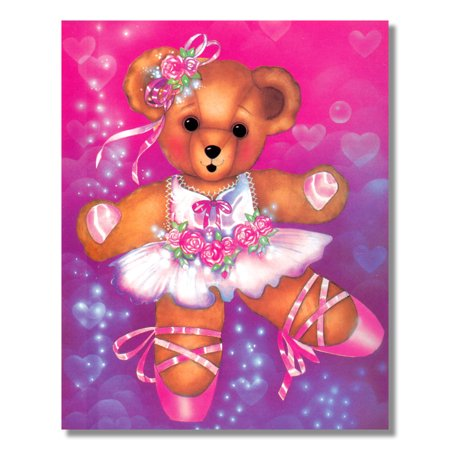 Ballerina Teddy Bear Pink Tutu Lacing Shoes Ballet Wall Picture 8x10 Art Print