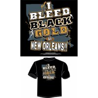 """New Orleans Football """"I Bleed Black and Gold, Go New Orleans"""" T-Shirt, Black"""