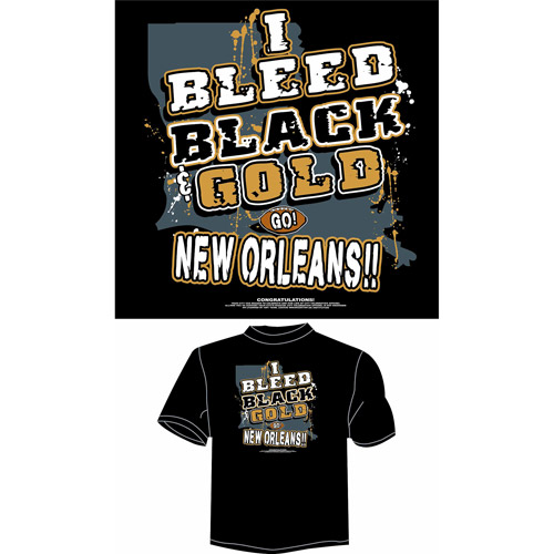 "New Orleans Football ""I Bleed Black and Gold, Go New Orleans"" T-Shirt, Black"